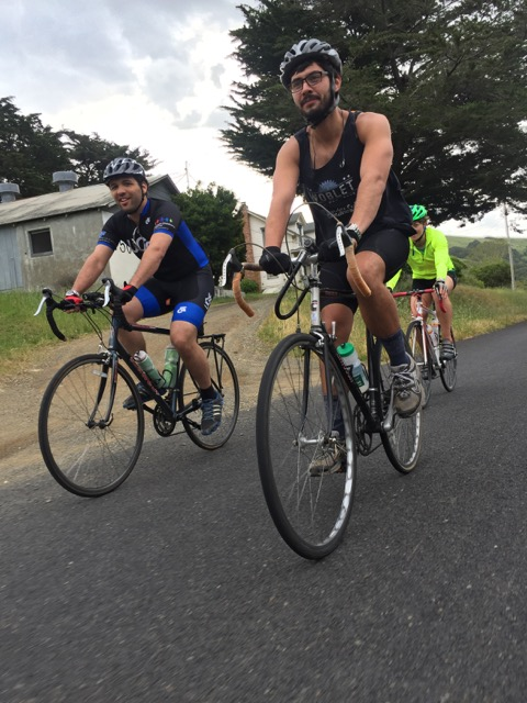 Retreat attendees bike up to Marconi.