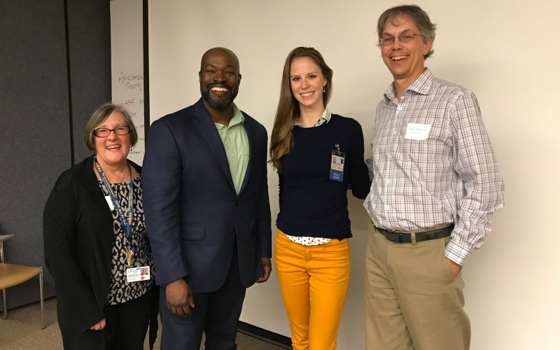 World-class researchers, such as Kafui Dzirasa, MD, PhD, are often invited to share their career paths and research with our students. (Left to right: Geri Ehle, Kafui Dzirasa, Leah Conant, Mark Anderson).