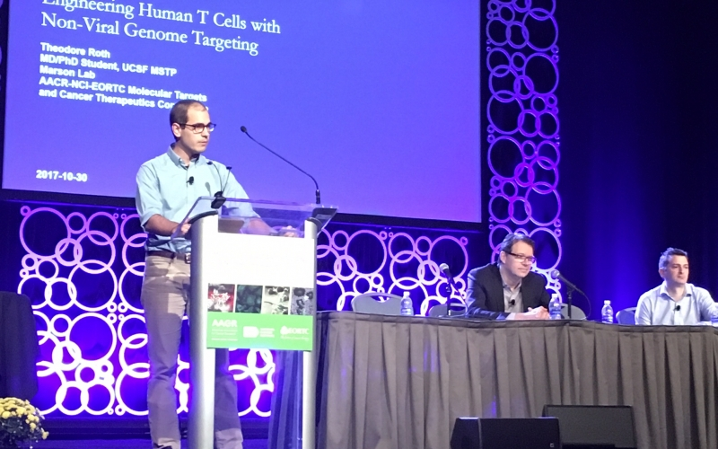 Theo Roth presenting at the American Association for Cancer Research (AACR) Conference. [Photo courtesy of Dr. Antoni (Toni) Ribas, MD, PhD]